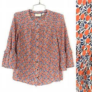 Anthropologie Maeve orange floral blouse shirt top